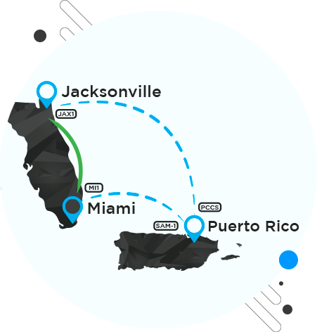 map of the transatlantic dark fiber network of fiberX